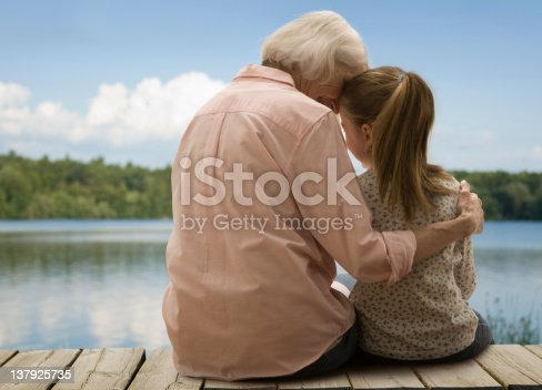 istock Grandmother and granddaughter sitting on the docks 137925735