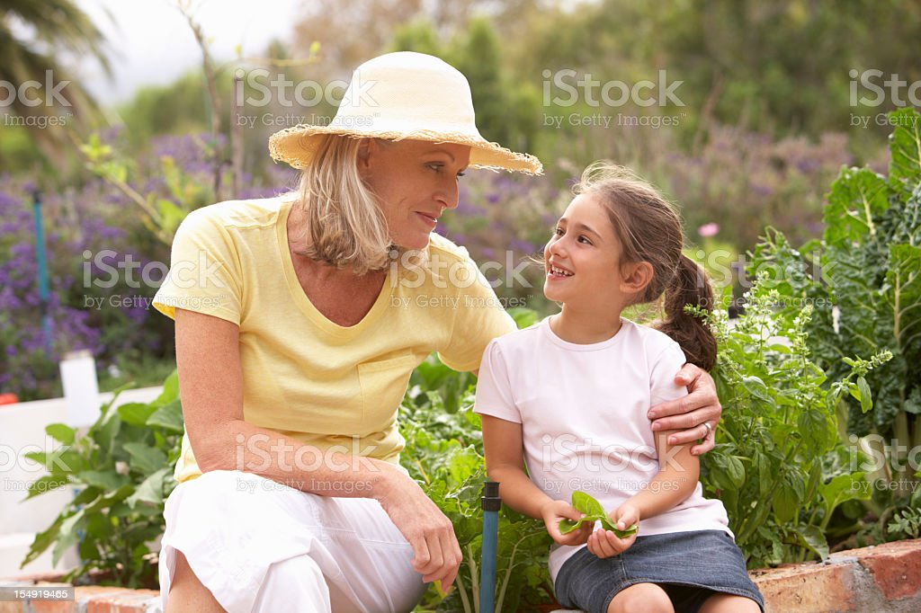 Grandmother And Granddaughter Working In Vegetable Garden royalty-free stock photo