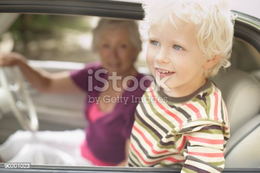 istock Grandmother and grandson in car 90201023