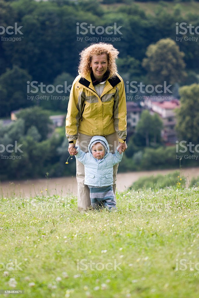 Grandmother and grandson on nature background royalty-free stock photo