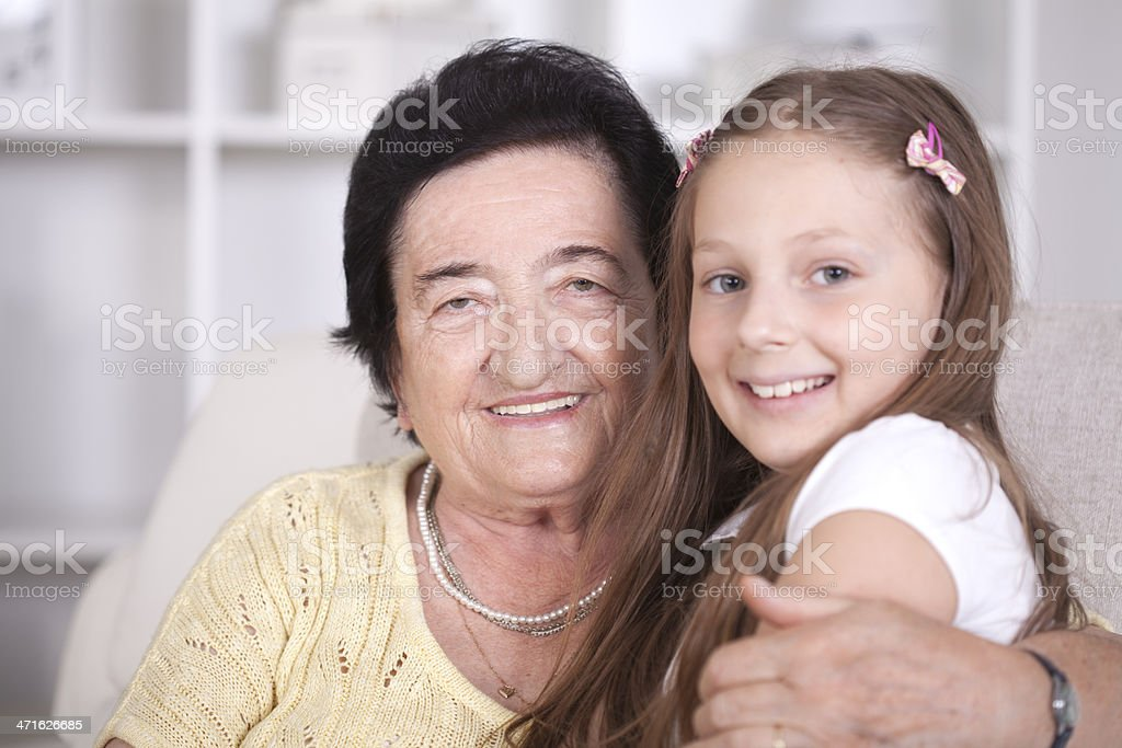 Grandmother and great-granddaughter. royalty-free stock photo
