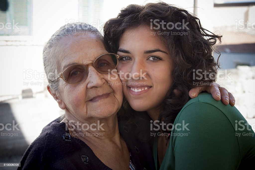 Grandmother and her granddaughter stock photo