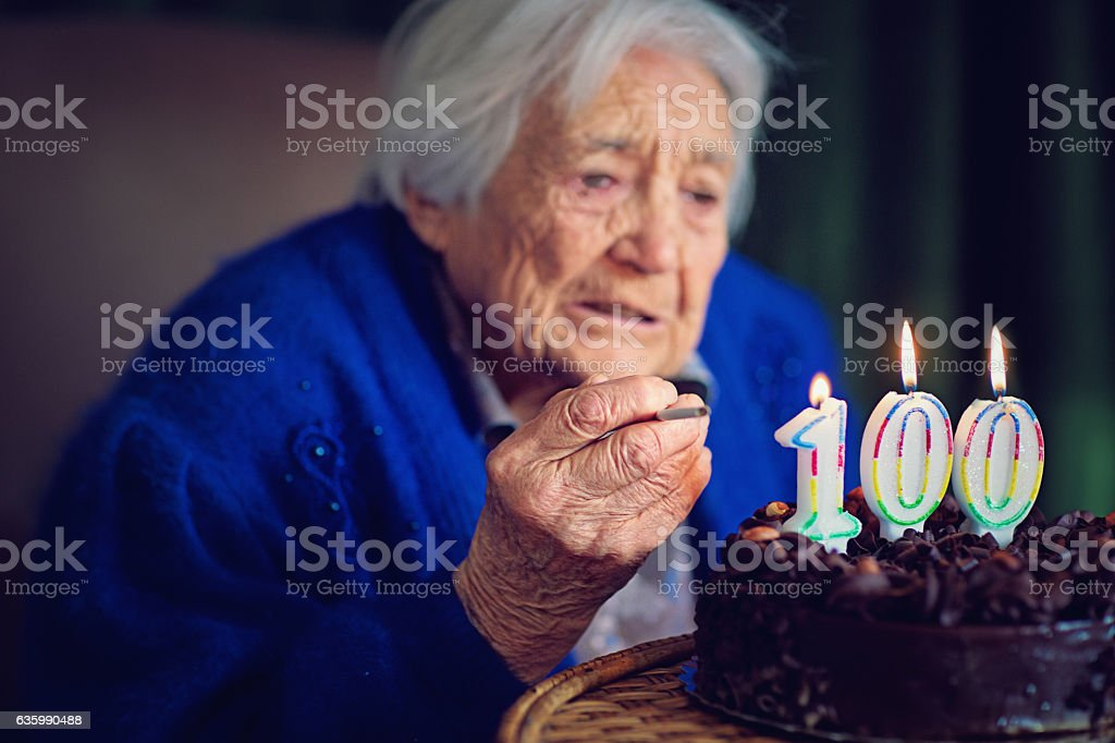 Grandmother at her birthday stock photo
