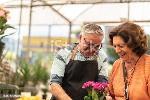 istock Grandmother buying flowers market 1037568908