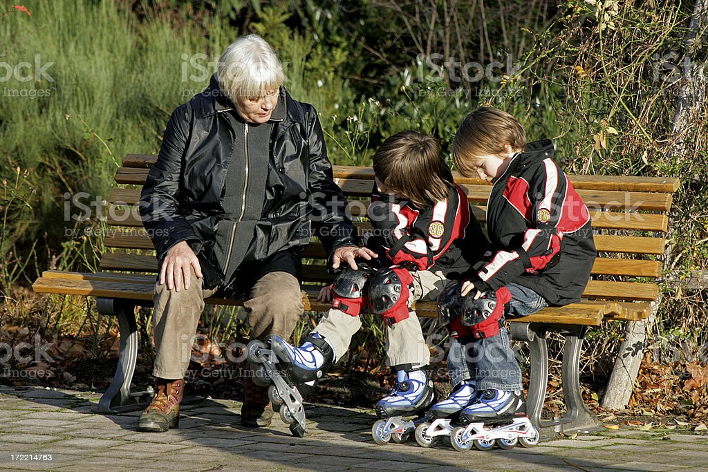 Grandmother caring for her Grandchildren royalty-free stock photo
