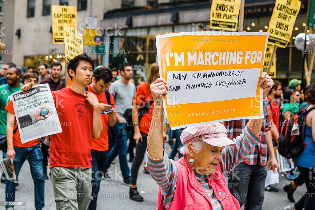 Grandmother carries placard at the 2014 People's Climate March, NYC. stock photo
