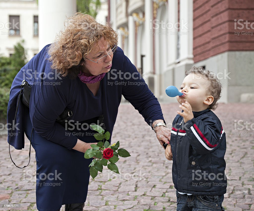 grandmother child care royalty-free stock photo