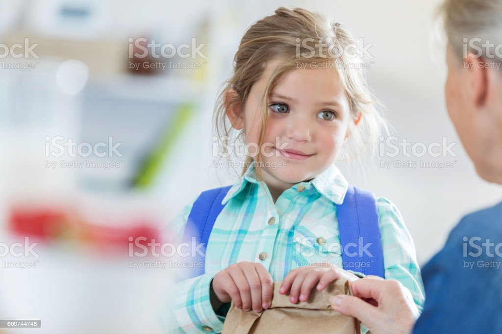 Grandmother gives grandmother a sack lunch for school stock photo
