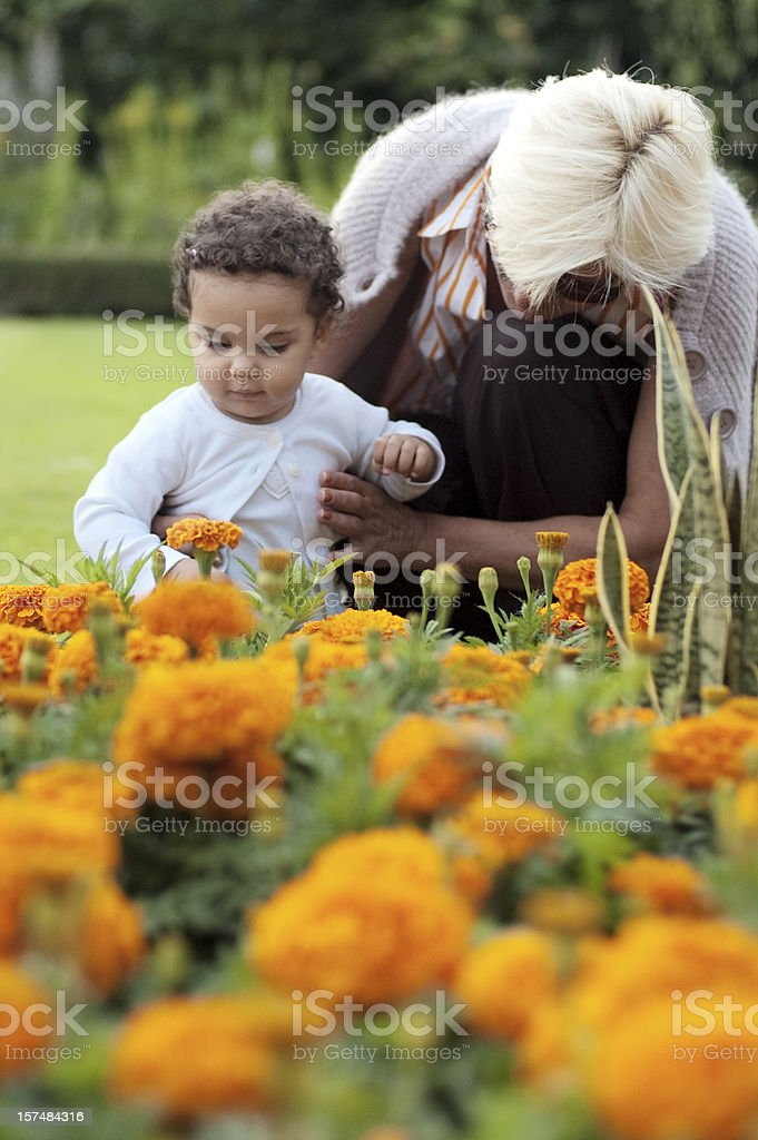 Grandmother Helping Her Granddaughter With  First Steps ( serie ) royalty-free stock photo