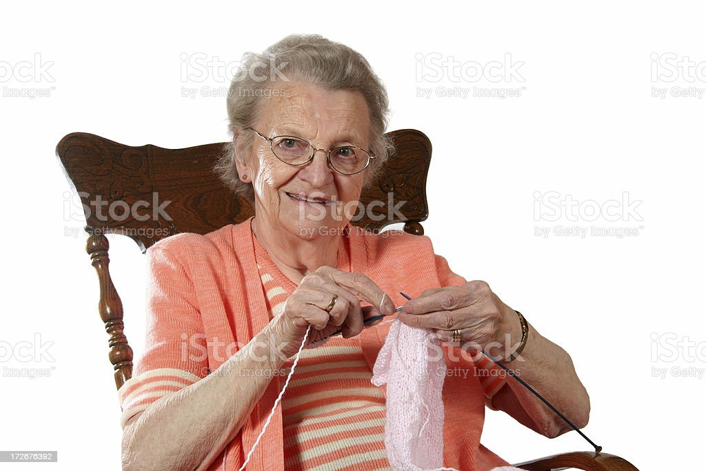 Grandmother Knitting royalty-free stock photo