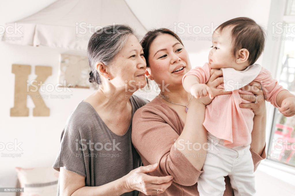 Grandmother, mother and baby stock photo