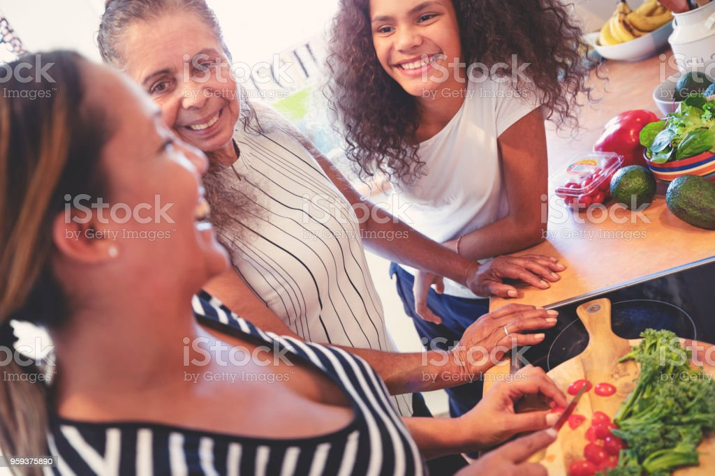 Grandmother, Mother and child cooking in the kitchen. stock photo