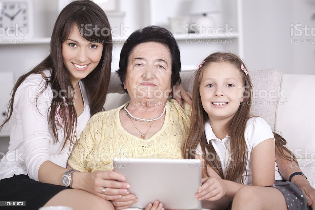 Grandmother, mother and granddaughte. stock photo