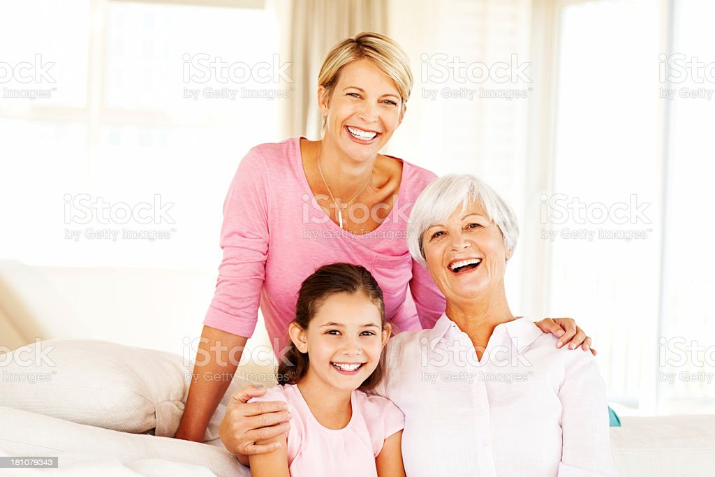 Grandmother, Mother and Granddaughter Spending Time Together At stock photo