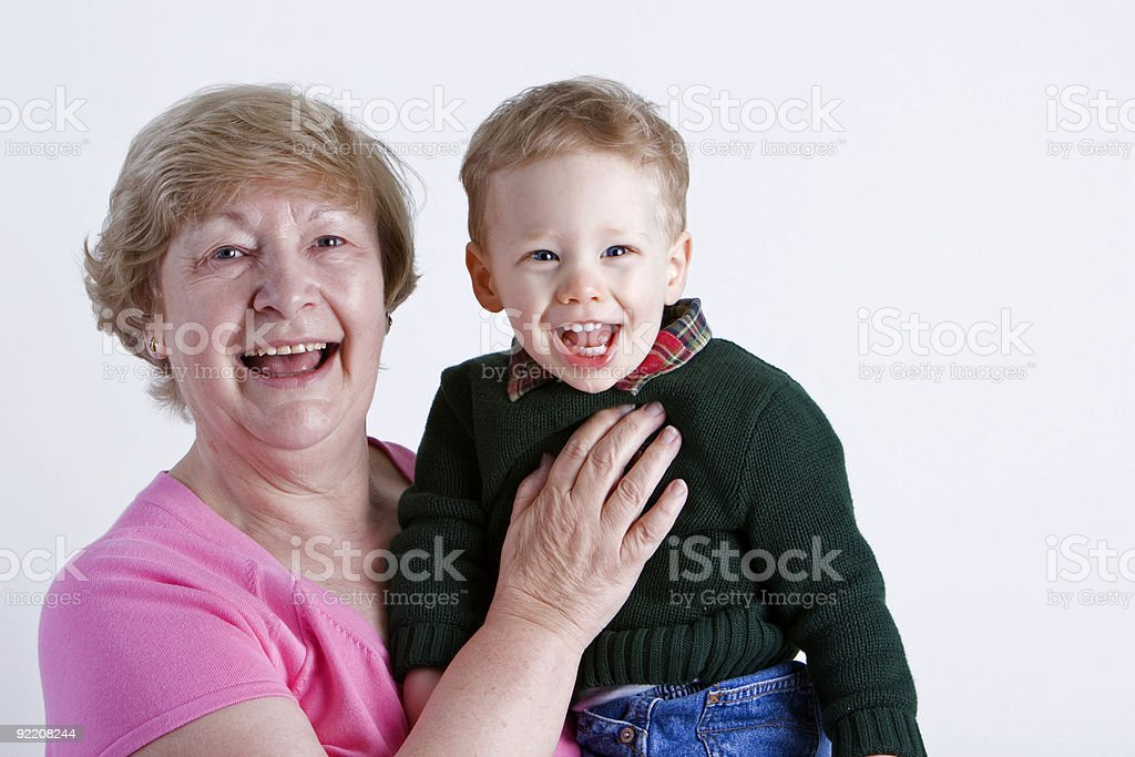Grandmother with grandchild stock photo