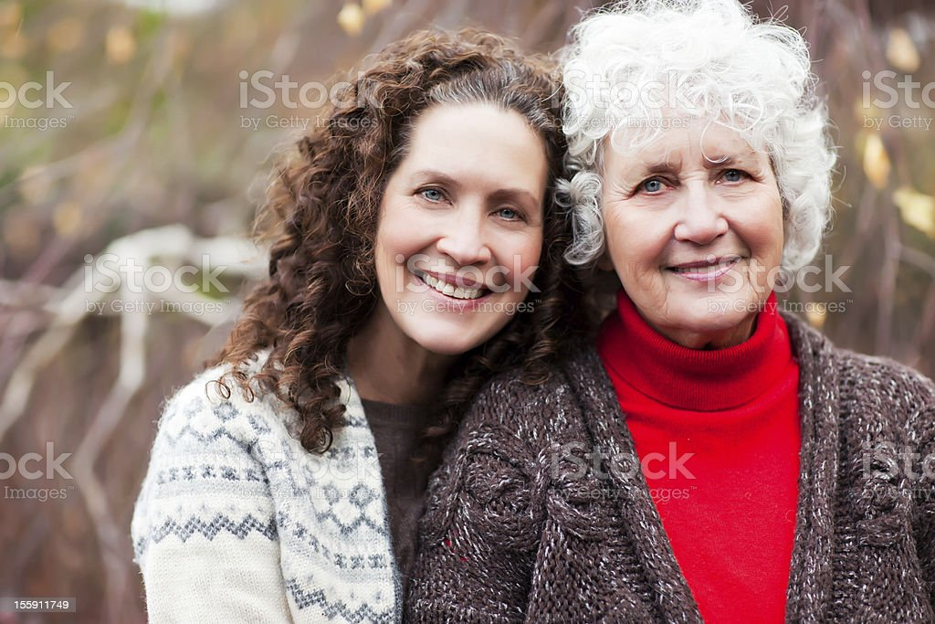 Grandmother with her daughter stock photo