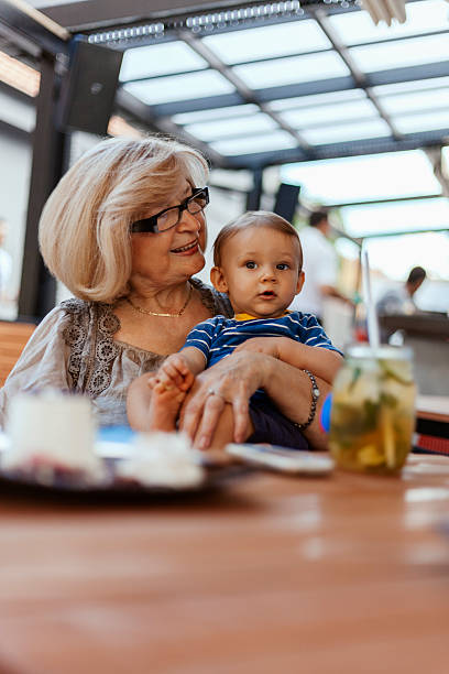 Grandmother With Her Grandson stock photo