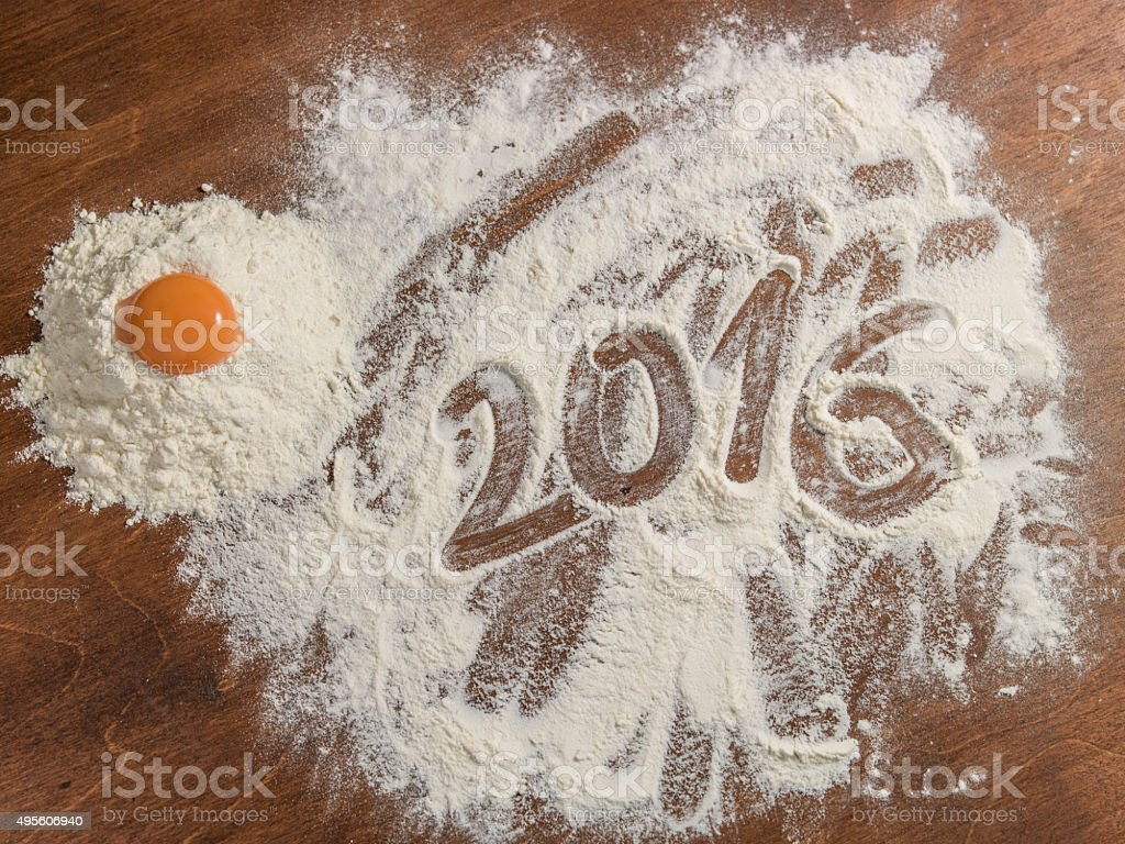 Grandmother's pastry board with 2016 subtitle stock photo
