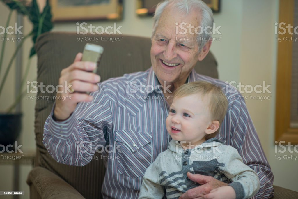 Grandpa and Baby Selfie Time stock photo