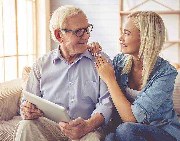 Grandpa and grandchild stock photo
