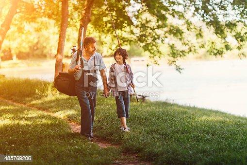 992209122 istock photo Grandpa and grandson on fishing. 485769206