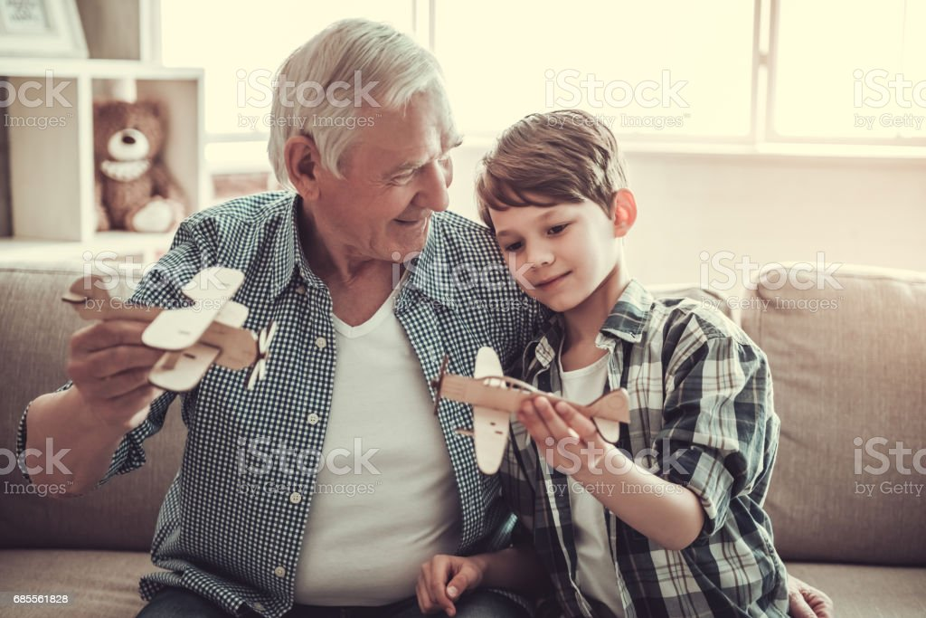 Grandpa and grandson stock photo