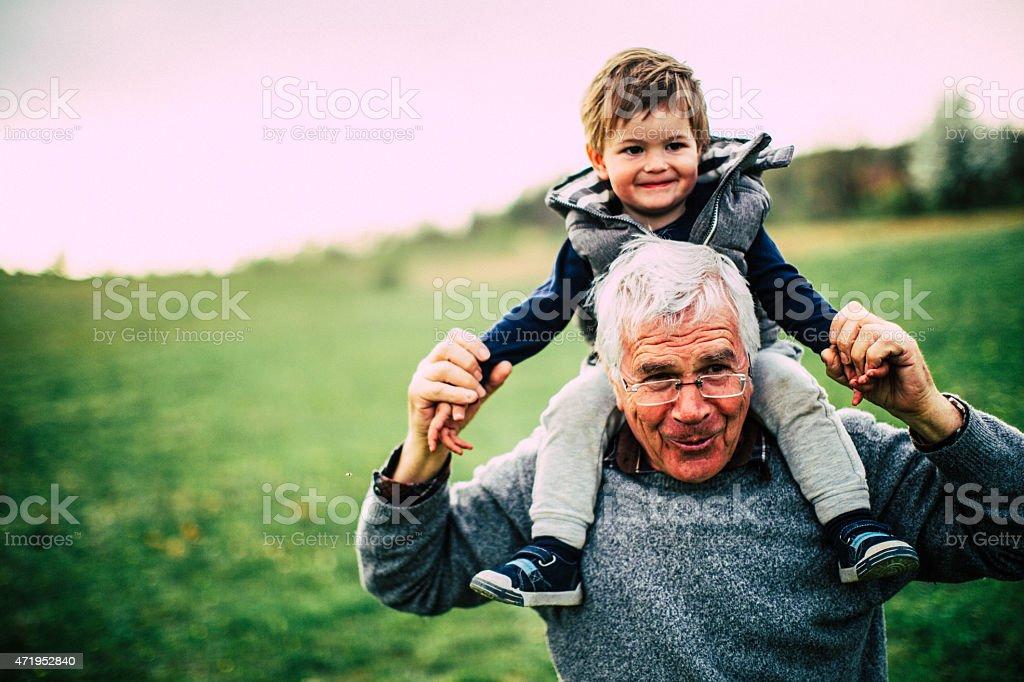 Grandpa and me stock photo