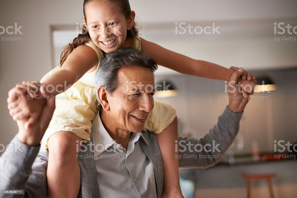 Grandpa is so much fun stock photo