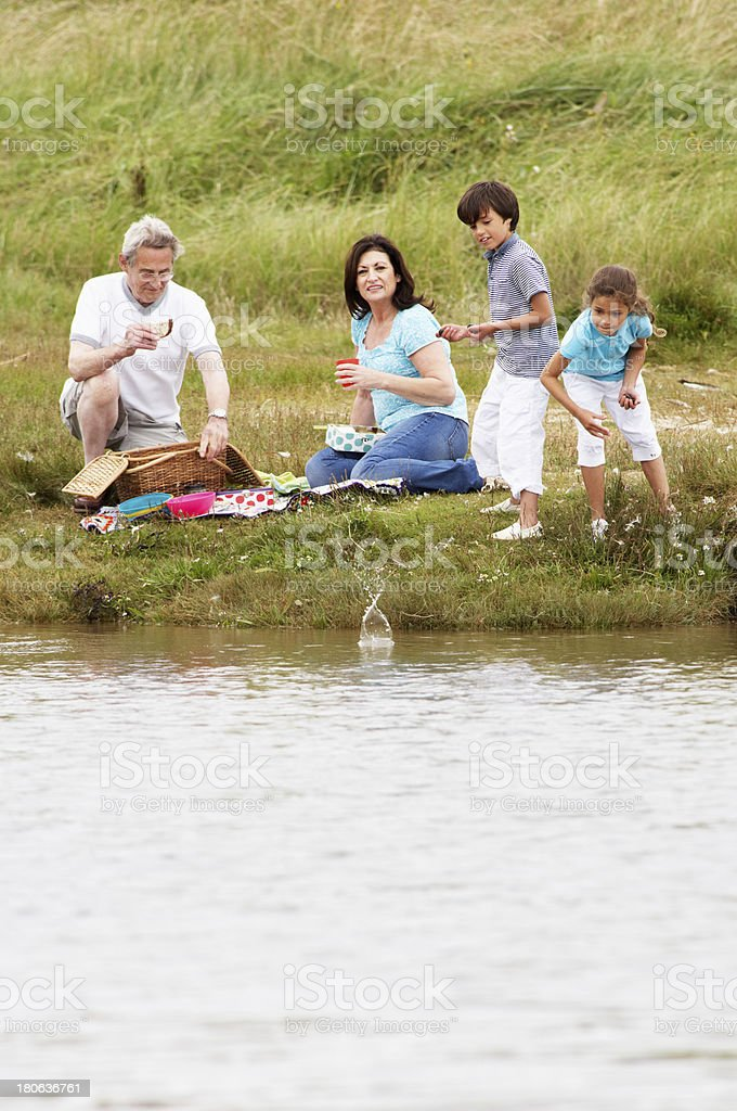 Grandparents And Grandchildren Having Picnic On Riverbank royalty-free stock photo