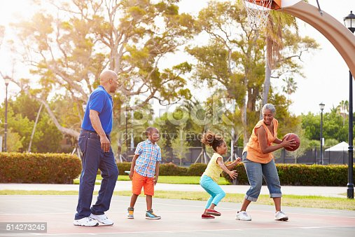 istock Grandparents And Grandchildren Playing Basketball Together 514273245