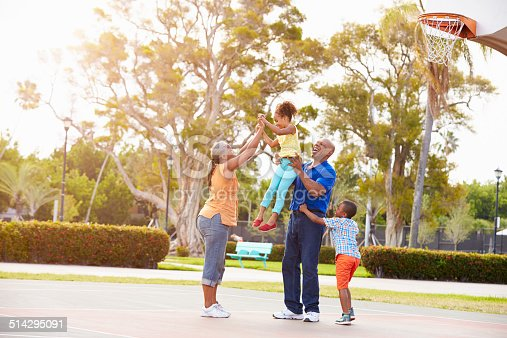 istock Grandparents And Grandchildren Playing Basketball Together 514295091