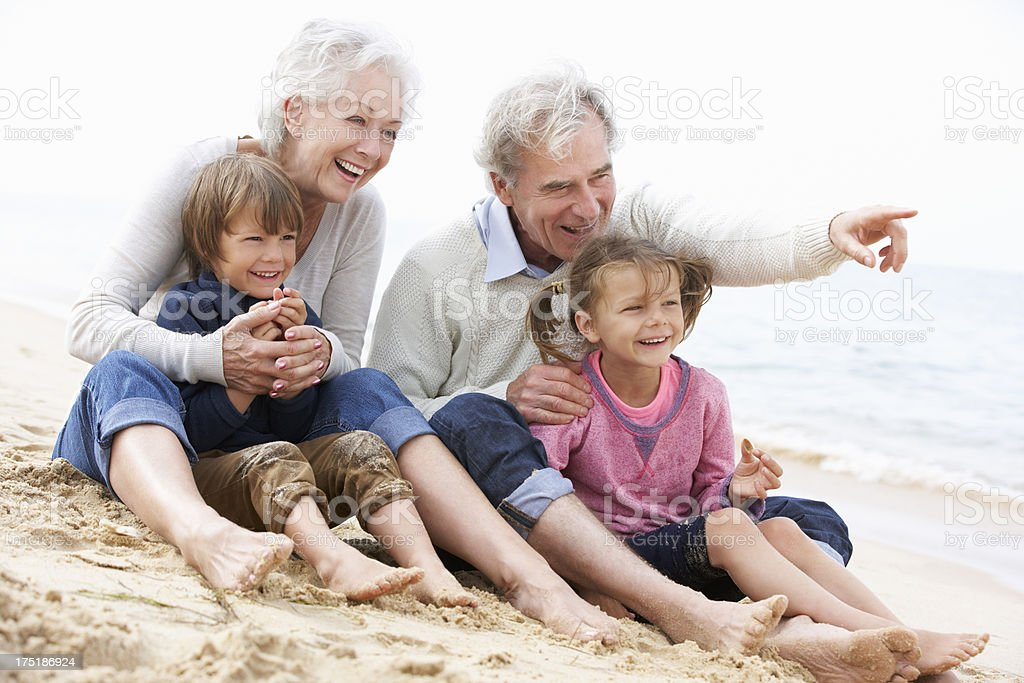 Grandparents And Grandchildren Sitting On Beach Together stock photo