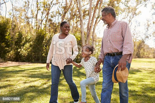 646011750 istock photo Grandparents And Granddaughter Walking In Park Together 646011688