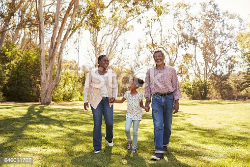 istock Grandparents And Granddaughter Walking In Park Together 646011722