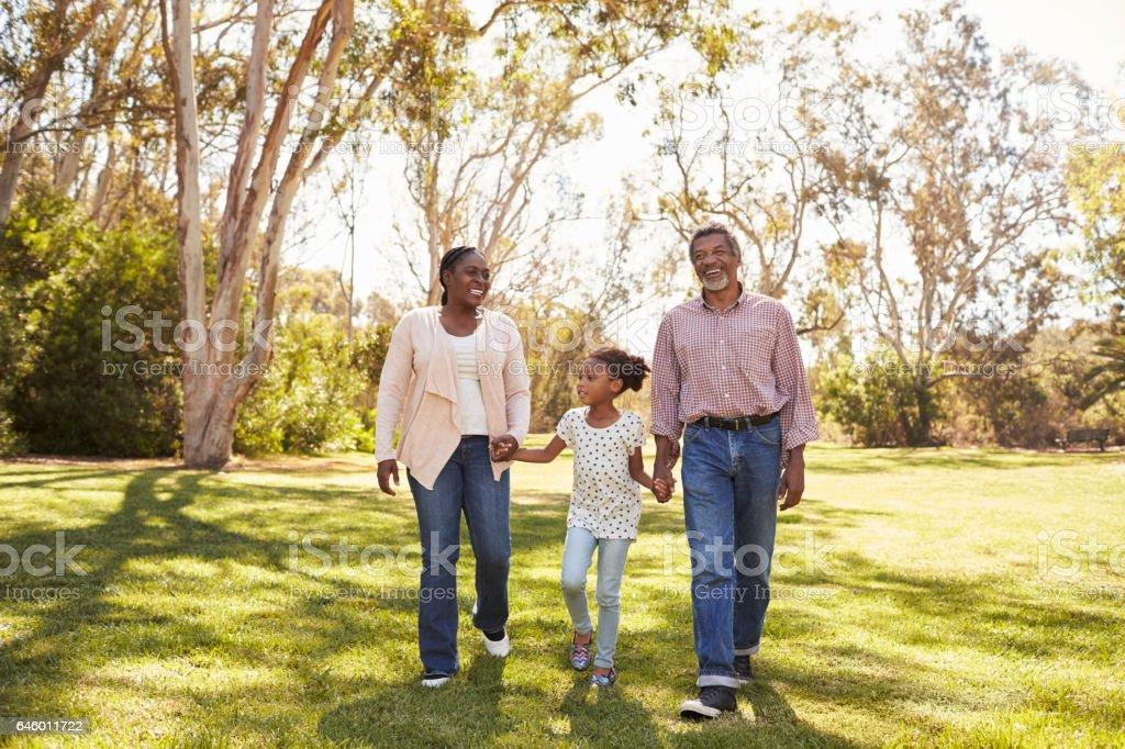 Abuelos y nieta caminando en el Parque - foto de stock