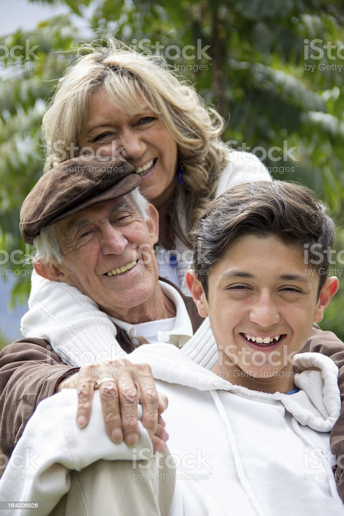 Grandparents and grandson royalty-free stock photo