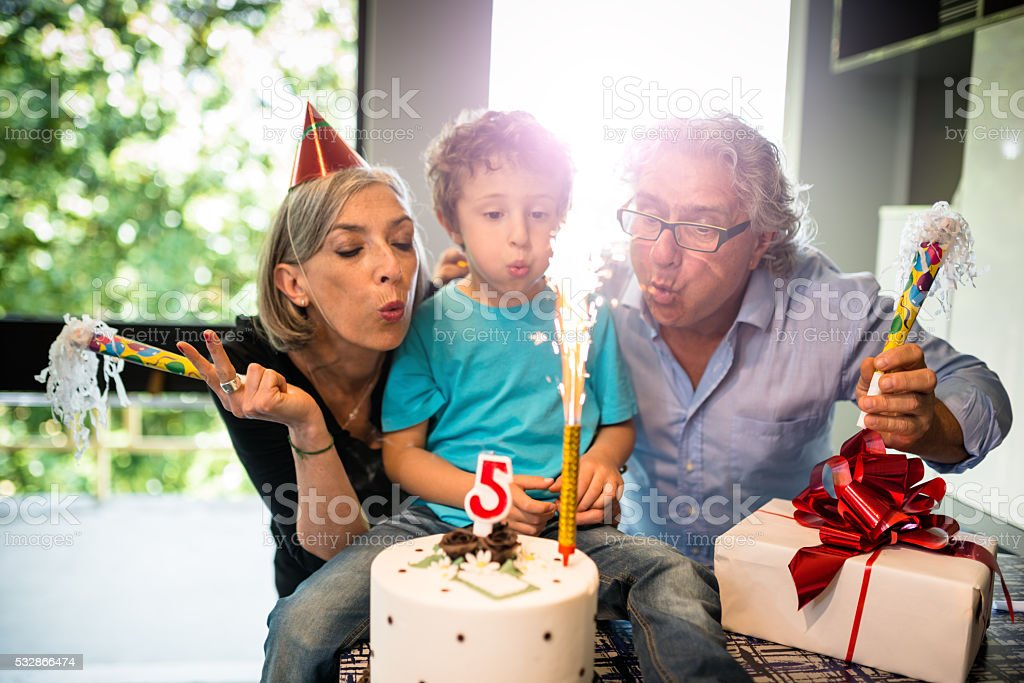 grandparents birthday party time stock photo