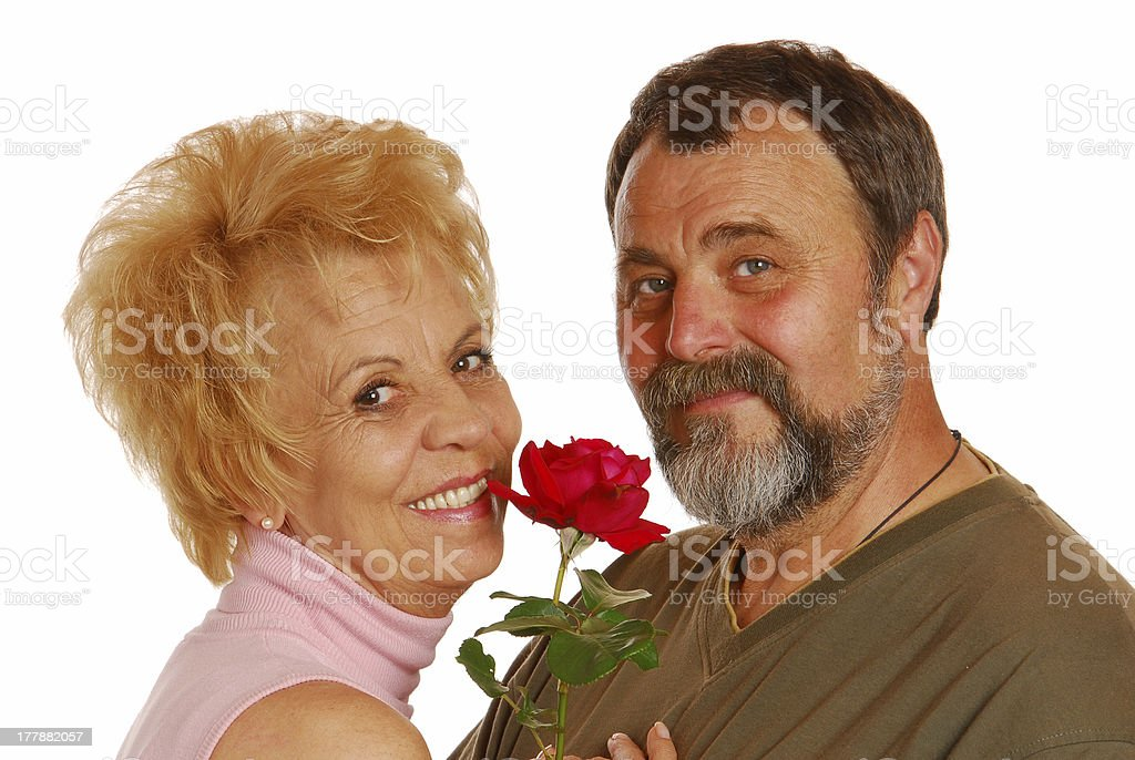 Grandparents hugging each other royalty-free stock photo