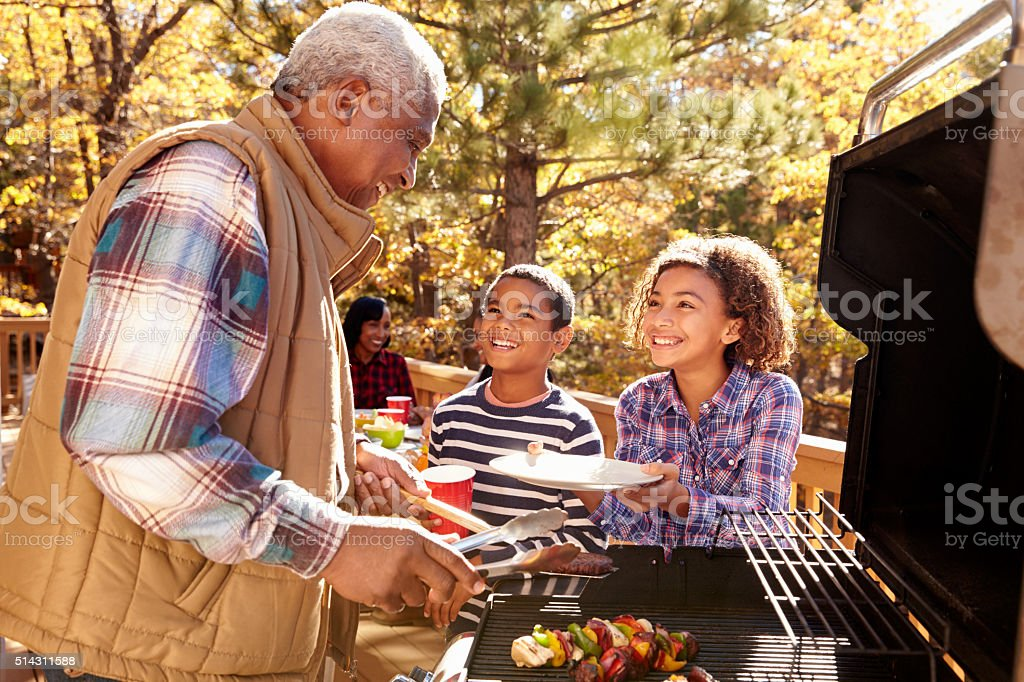 Grands-parents avec enfants appréciant un Barbecue en plein air - Photo