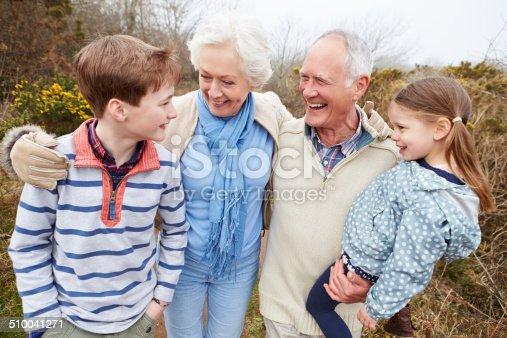 510042945 istock photo Grandparents With Grandchildren On Walk In Countryside 510041271