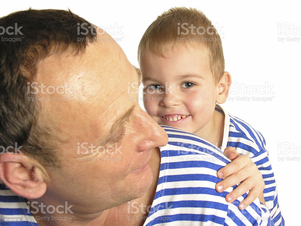 grandson behind grandfather isolated royalty-free stock photo