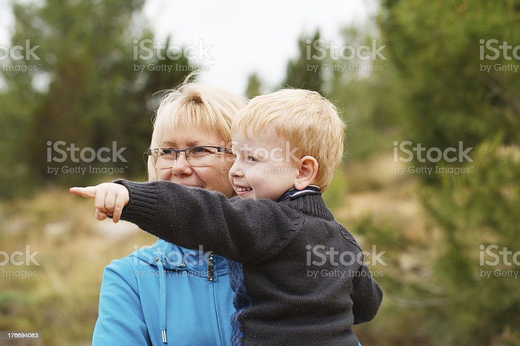 Grandson having fun royalty-free stock photo