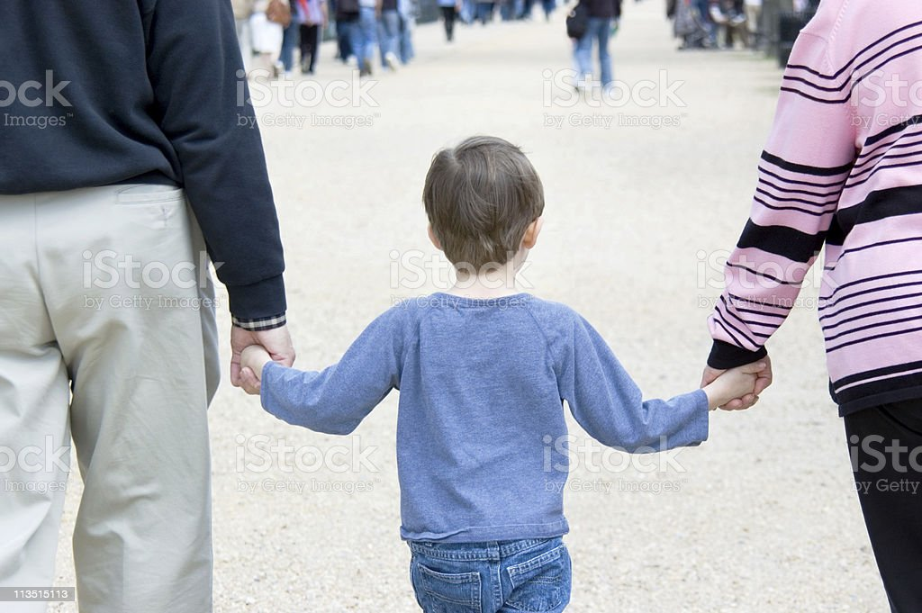 Grandson Holding Hands royalty-free stock photo