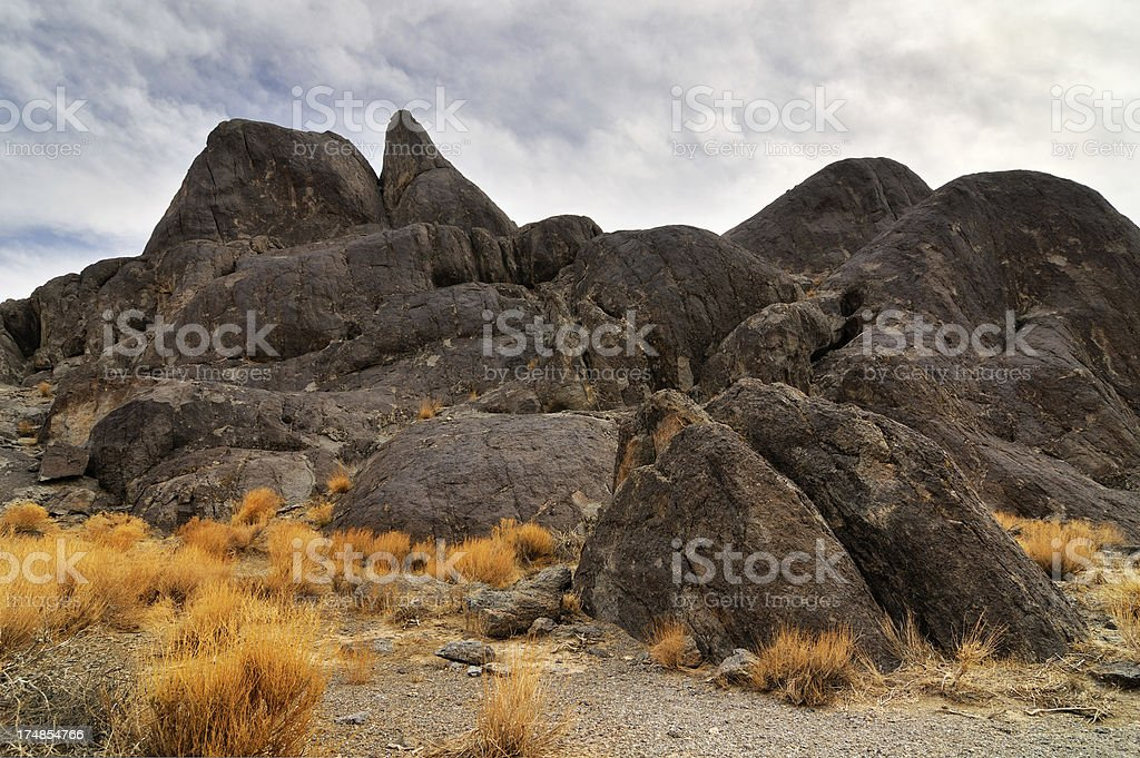 Grandstand rock at Racetrack Playa, Death Valley, USA stock photo