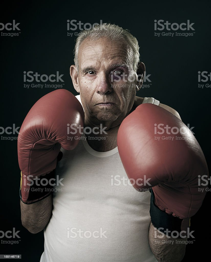 Granfather boxing stock photo