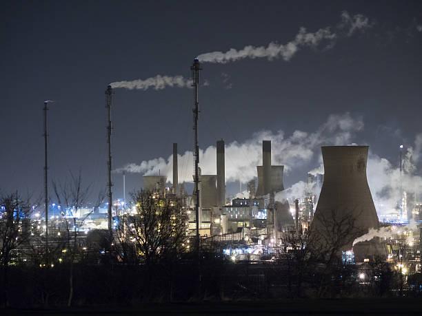 Grangemouth Refinery at night. stock photo