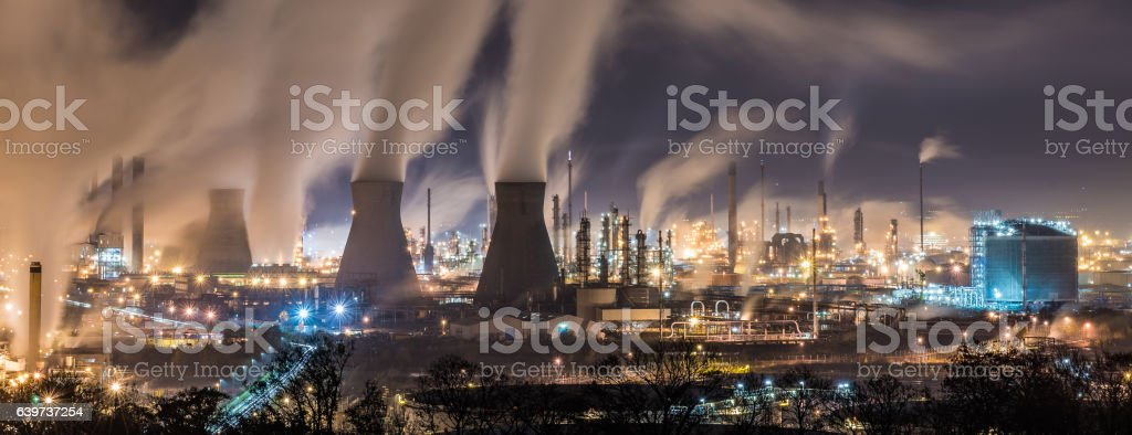 Grangemouth refinery at night stock photo