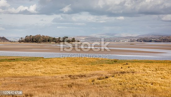 A view from Grange-over-Sands, on the north side of Morecambe Bay, Cumbria, England.