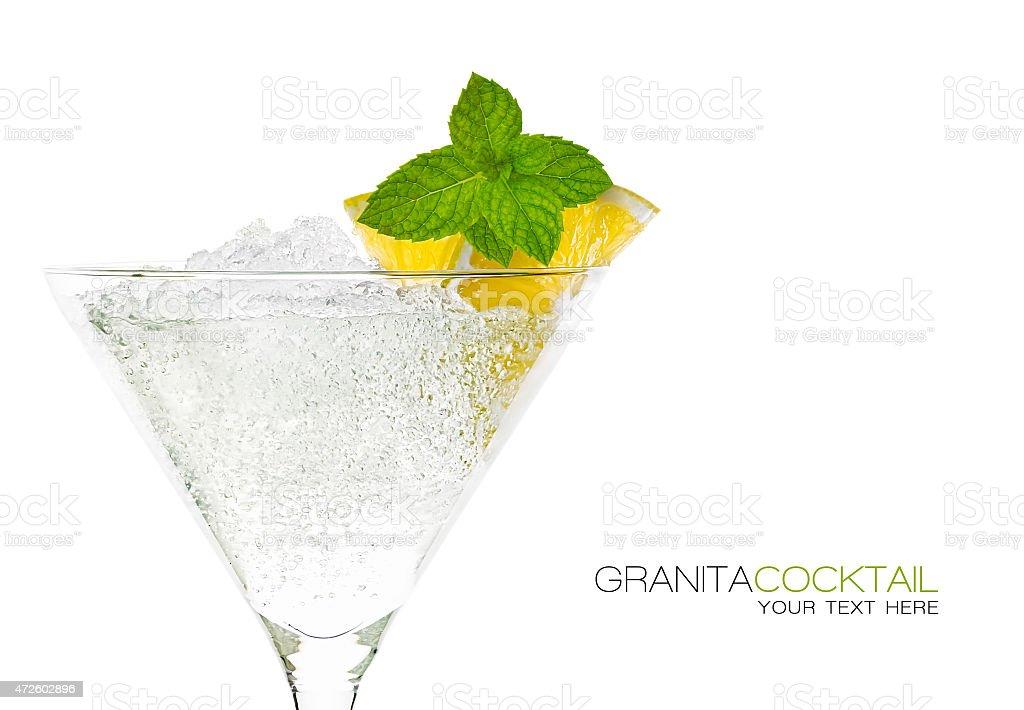Granita Cocktail in Martini Glass. Template Design stock photo