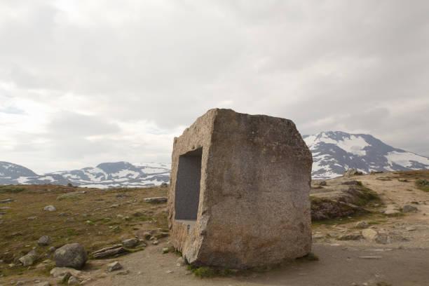 Granite block in the Norwegian high mountains stock photo